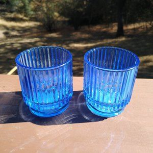 Two Cobalt Blue Candle Holder/Cozy Glass